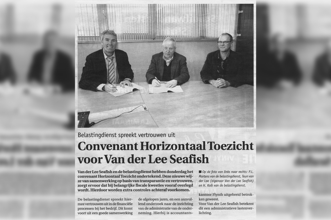 Van der Lee Seafish and Tax Department Sign Agreement